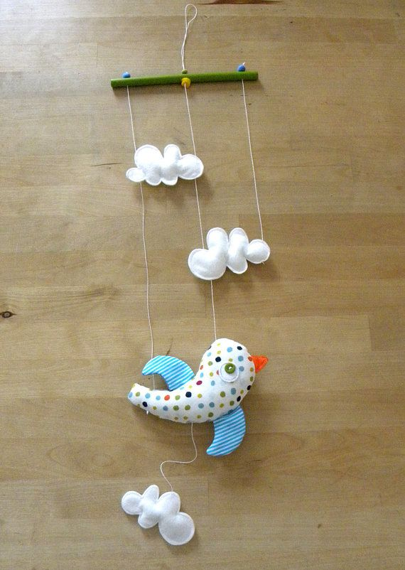 Bird and clouds mobile by krakracraft on Etsy, $15.50