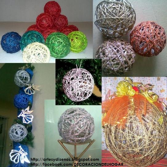 Diy c mo hacer bolas o esferas para navidad by - Decoracion navidena para el hogar manualidades ...