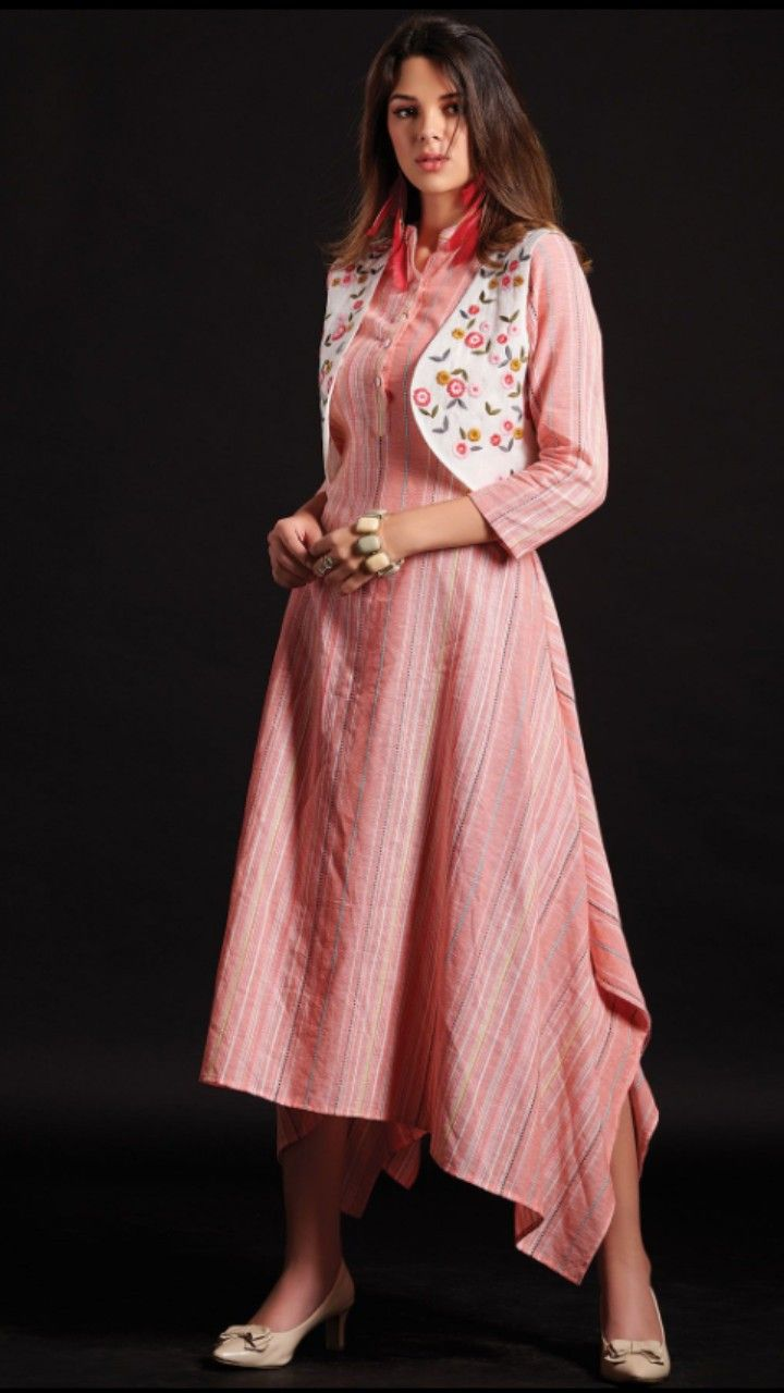87029cdd0 Beautiful Cotton-Silk western cut Kurti with embroidered Jacket. Cotton  Gowns
