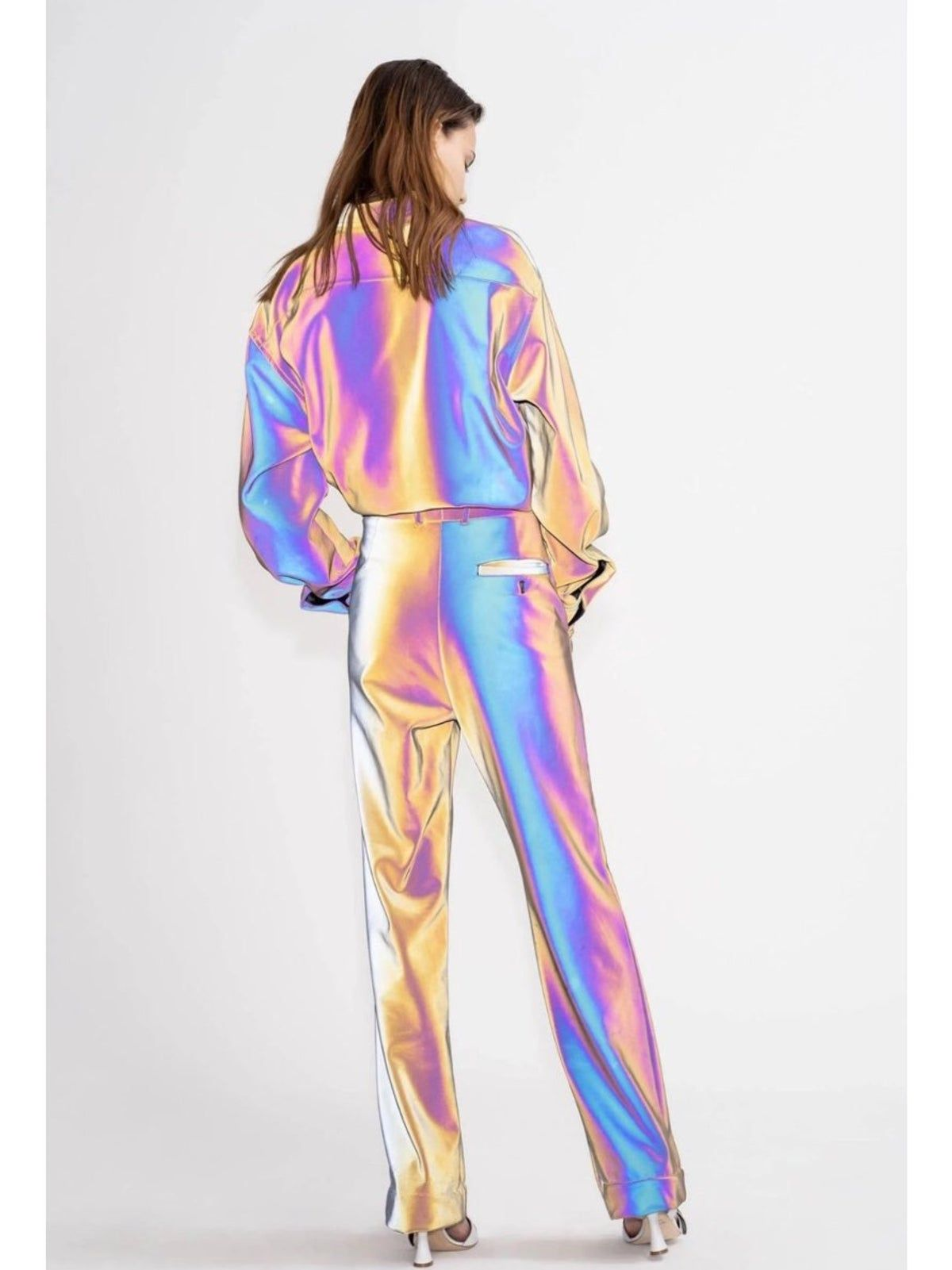 Holographic Reflective Pants Holographic Fashion Streetwear Fashion Fashion