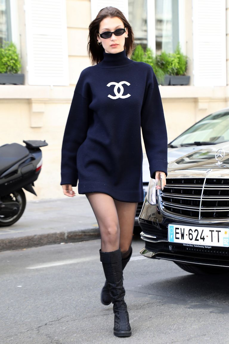 a1d93d1a03d Bella Hadid s Hottest Looks wearing a black sweatshirt minidress by Chanel