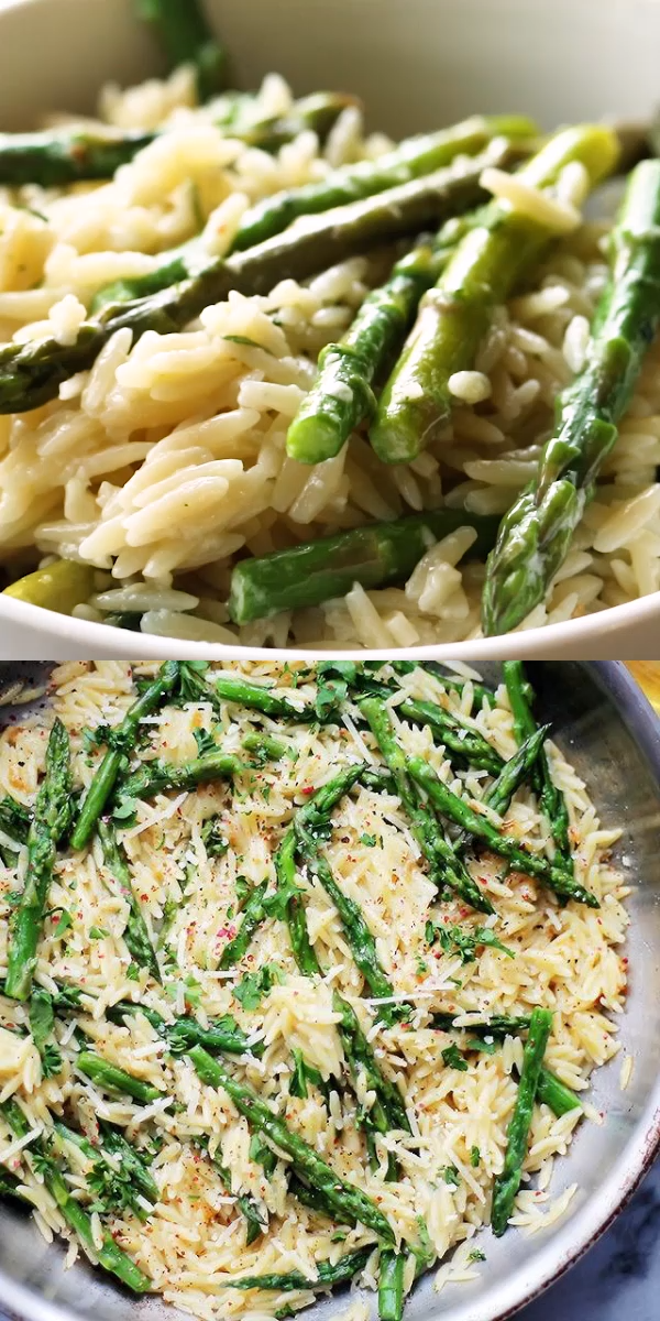 Garlic Butter Asparagus Pasta - Orzo Pasta and fresh Asparagus tossed in a garlic butter sauce and parmesan cheese. It's a 20-minute, garlicky and cheesy pasta dish! #asparagus #spring #easter #sidedish #meatlessmonday