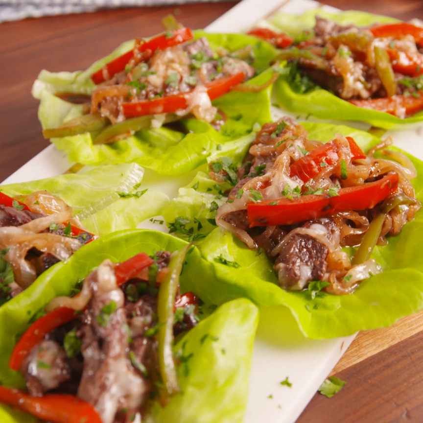 Philly Cheesesteak Lettuce Wraps Are The LowCarb Way To Eat Your Favorite Sandwich is part of Keto recipes - You won't miss the hoagie in these lowcarb Philly Cheesesteak lettuce wraps  Yes, they're made with provolone—NOT Cheez Whiz  And before you get all riled up, no, they're not in any way authentic