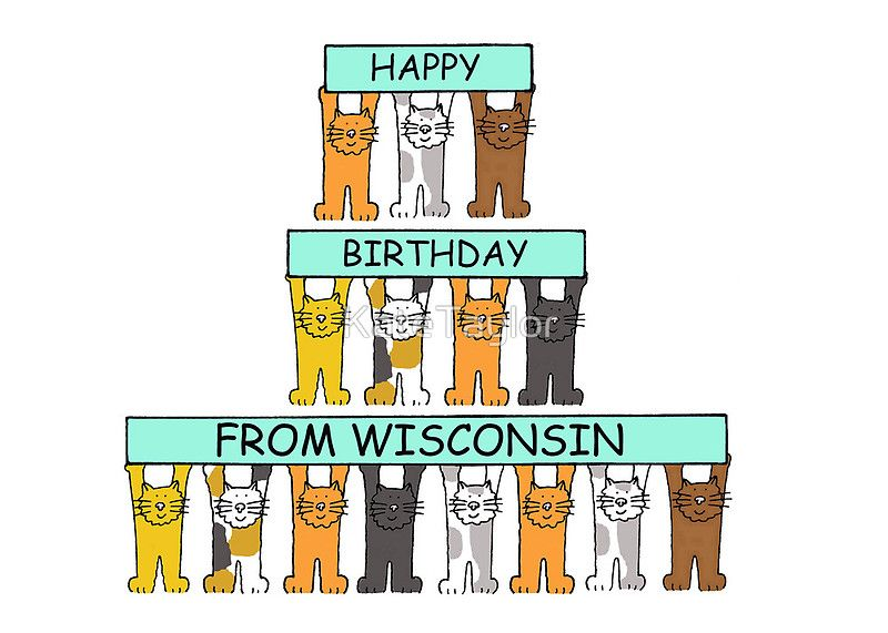 """""""Cats Happy Birthday from Wisconsin."""" Greeting Cards & Postcards by KateTaylor 