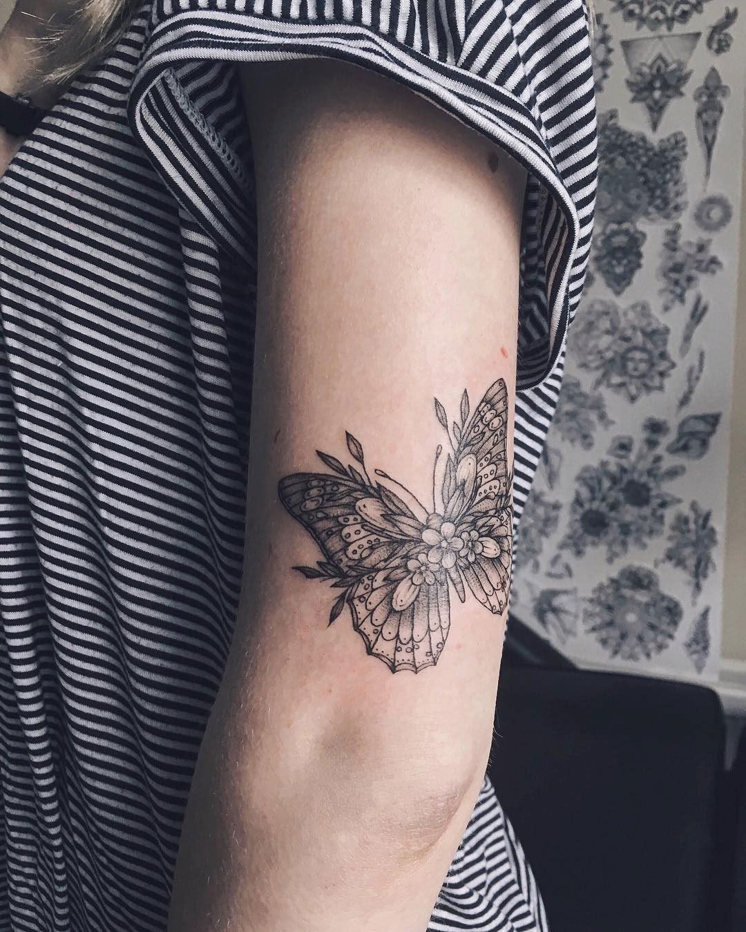 Placement tattoos piercings pinterest tattoo piercings and imagen de butterfly tattoo and flower omething like this but with a red cardinal on one of papas flowers izmirmasajfo