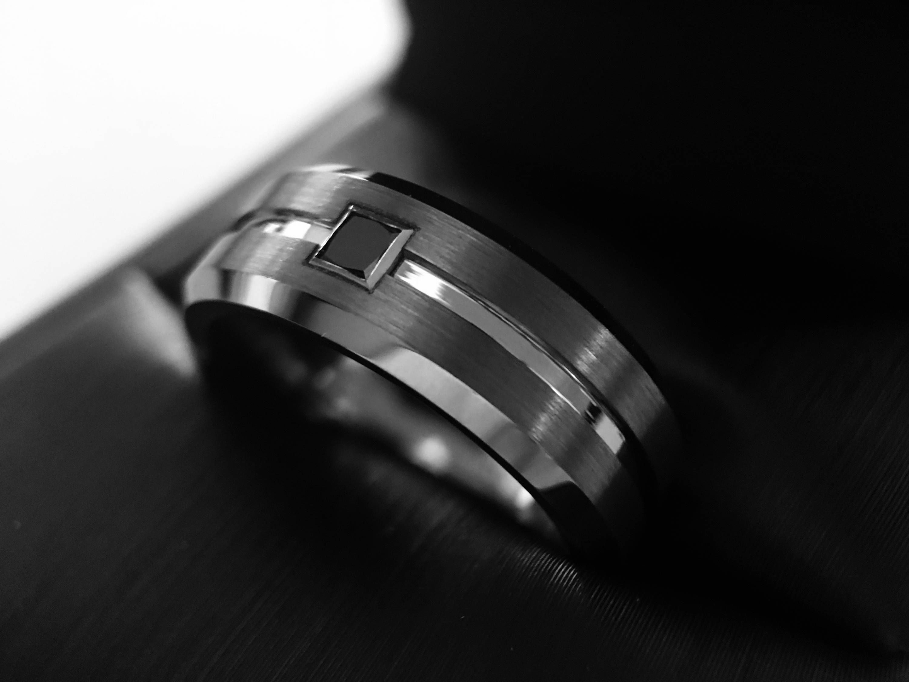 Mens Tungsten Wedding Bands Mens Tungsten Ring with Black Square
