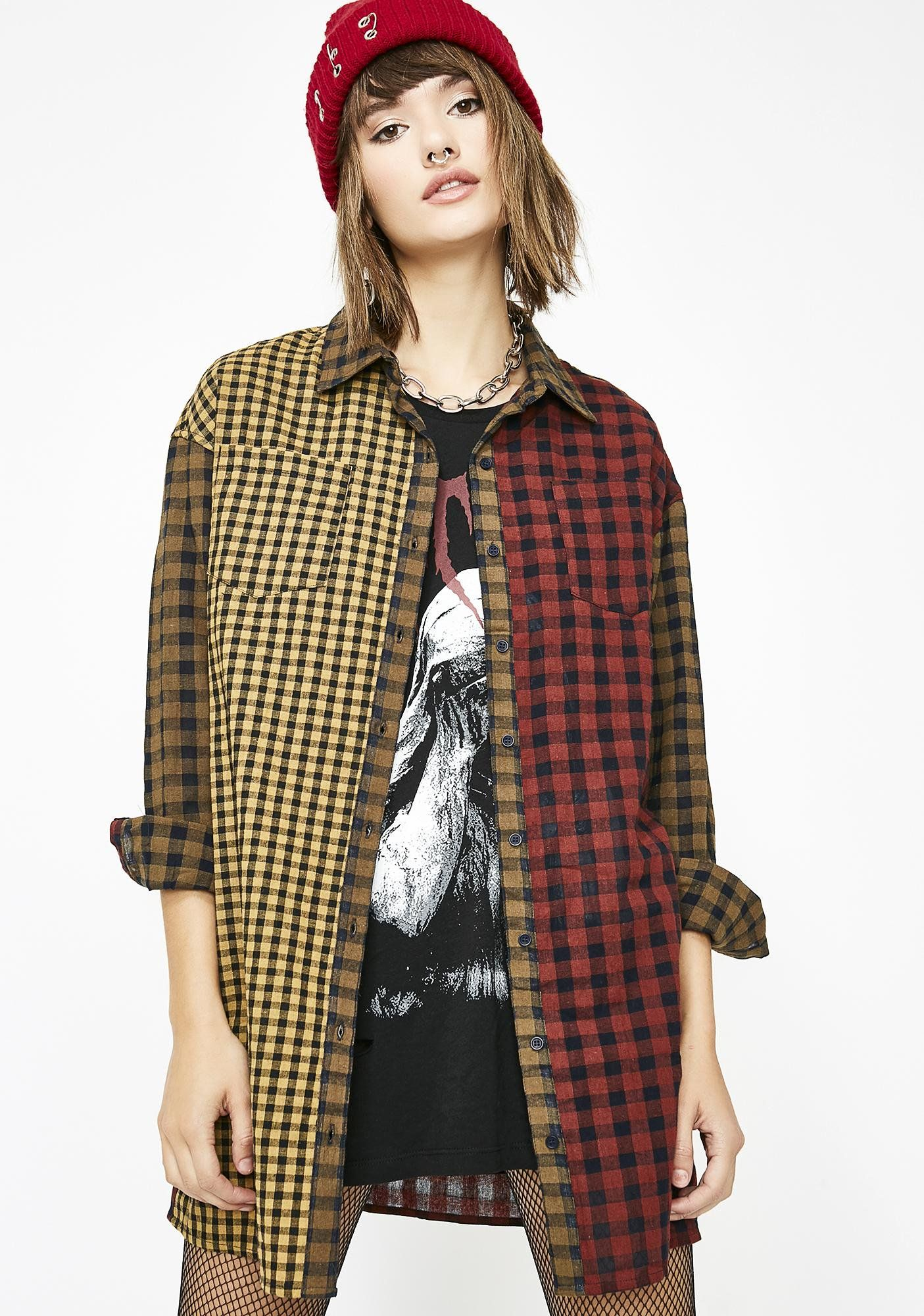 0e51be9ef98 Plaid Oversize Button Up Top