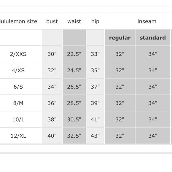 Lululemon Size Chart Womens Wholesale Clothing Bra Size Charts Lululemon