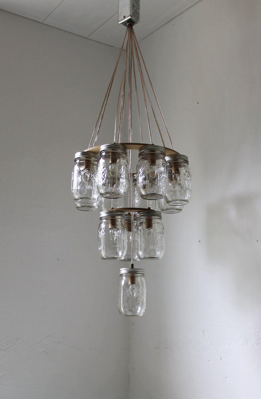 3 tier mason jar chandelier mason jar lighting upside. Black Bedroom Furniture Sets. Home Design Ideas