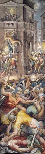 St. Bartholomew's Day massacre, with the murder of Gaspard de Coligny above left, as depicted in a fresco by Giorgio Vasari.