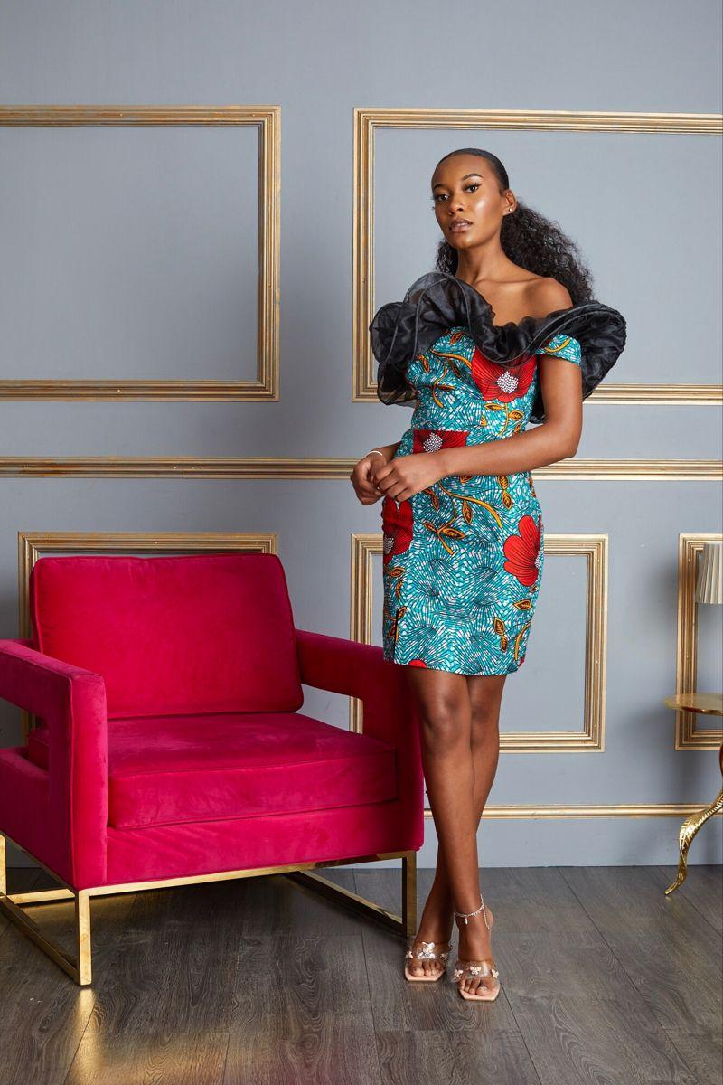 Adjoa African Print Ankara Kitenge Luxury Ruffle Dress