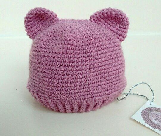 Gorro con orejas en rosa antiguo oscuro. 100% lana merino. x