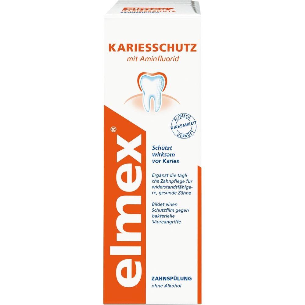 ELMEX KARIESSCHUTZ Zahnspülung:   Packungsinhalt: 400 ml Lösung PZN: 06894642 Hersteller: CP GABA GmbH Preis: 4,48 EUR inkl. 19 % MwSt.…