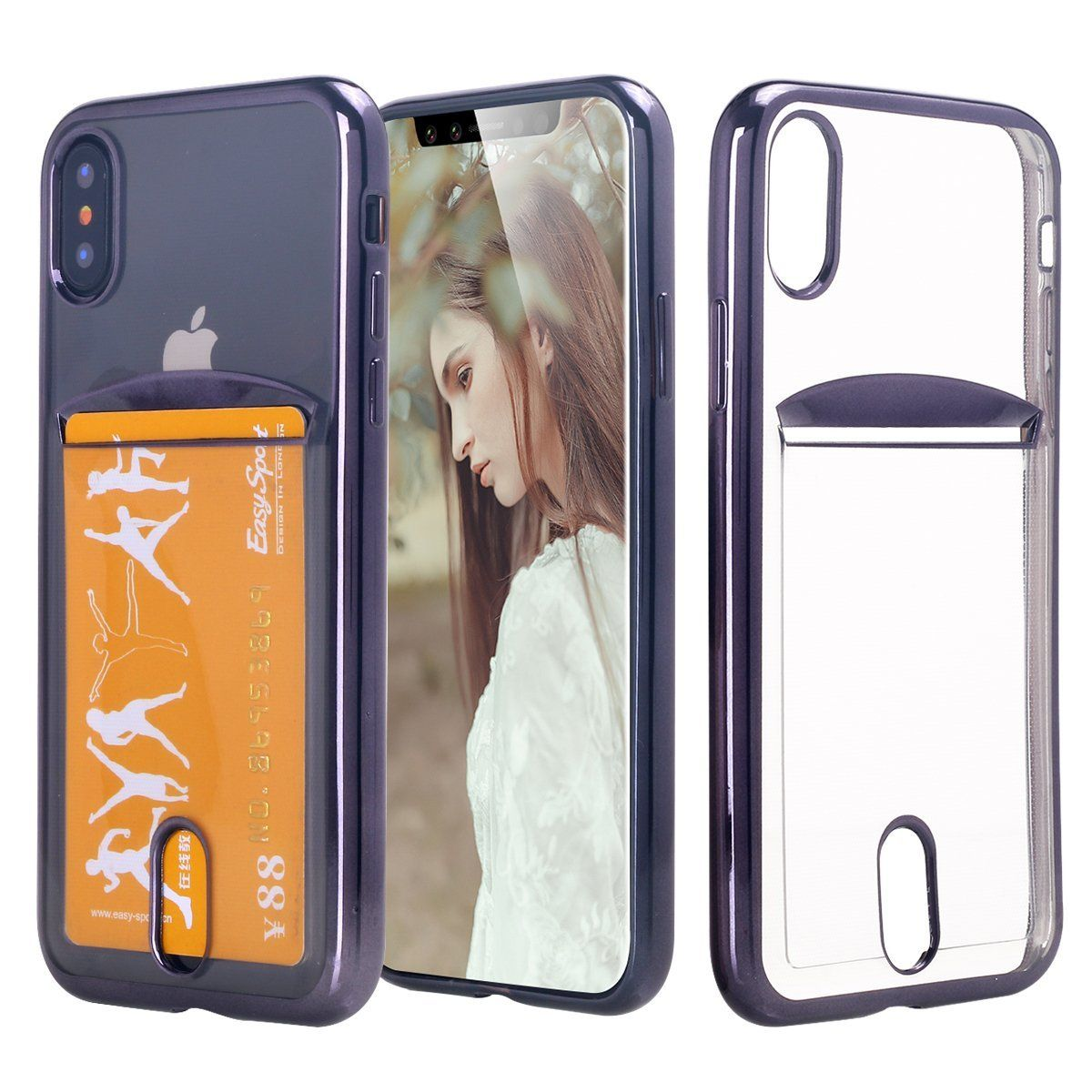 new concept 96e4d ef0bd iPhone X Case, Lontect Slim Thin Clear Luxury TPU Black Bumper Case ...