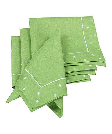 Loving this Green Polka Dot Embroidered Napkin - Set of Four on #zulily! #zulilyfinds