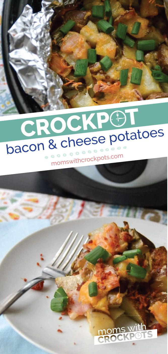 Crockpot Bacon & Cheese Potatoes Grab your slowcooker and get ready for the best side dish recipe for breakfast, lunch or dinner! Crockpot Bacon & Cheese Potatoes Recipe! | @MomsWCrockpots