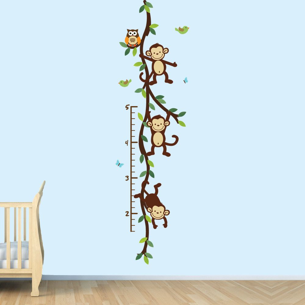 Monkey wall decal growth chart swinging monkeys on vines nursery monkey wall decal growth chart swinging monkeys on vines nursery wall decal art geenschuldenfo Choice Image