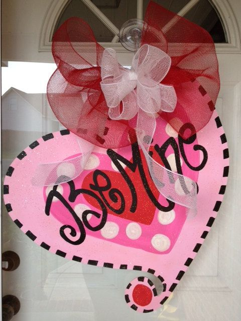 Wooden Door Hangers VALENTINES DAY On Pinterest Burlap