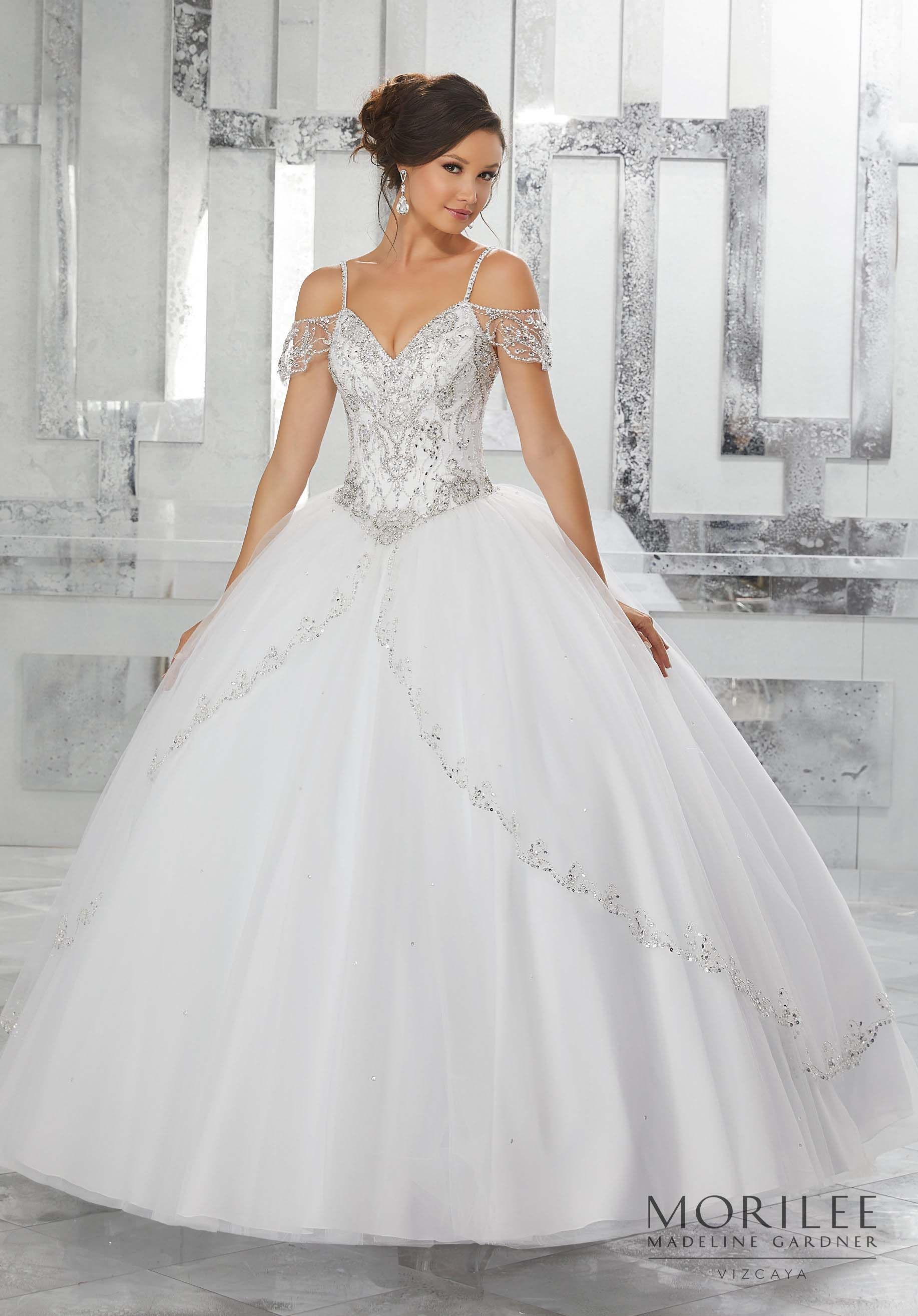 aef824b446 Jeweled Beading on a Split Front Tulle Ballgown