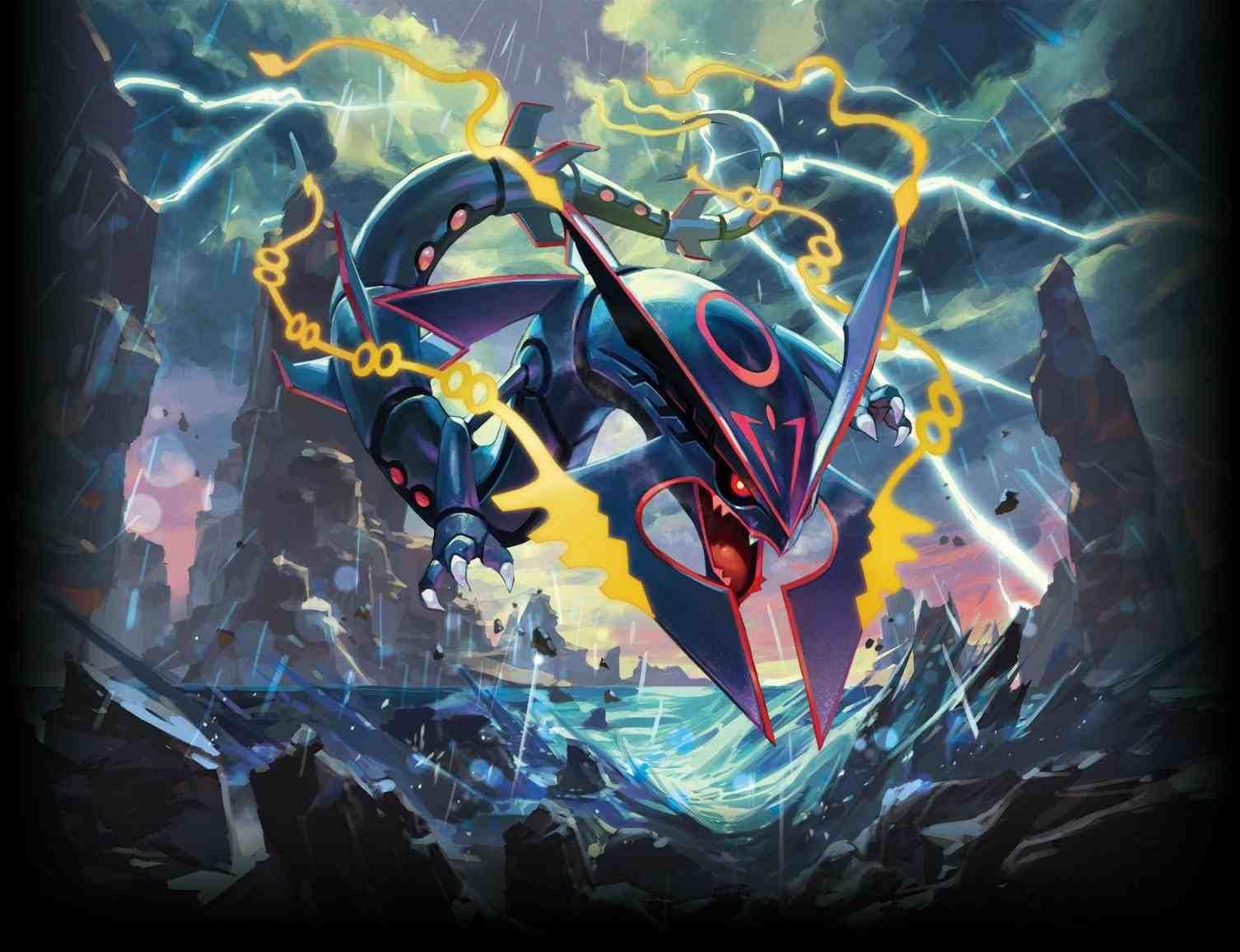 pokemon shiny mega rayquaza wallpaper   Pokemon wallpapers ...