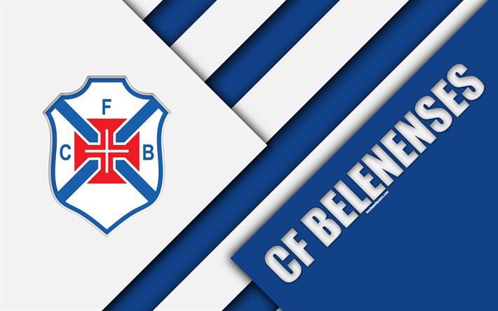 Download Wallpapers Cf Belenenses Portuguese Football Club Blue White Abstraction 4k Logo Material Design Primeira Liga Santa Maria De Belem Portugal F In 2020 Football Wallpaper Football Sports