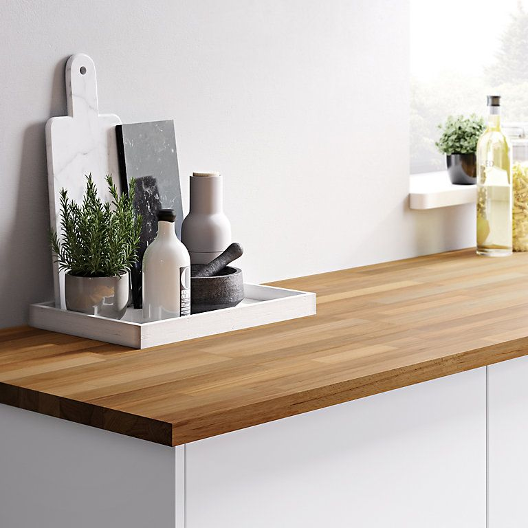 27mm kava natural solid timber square edge kitchen worktop