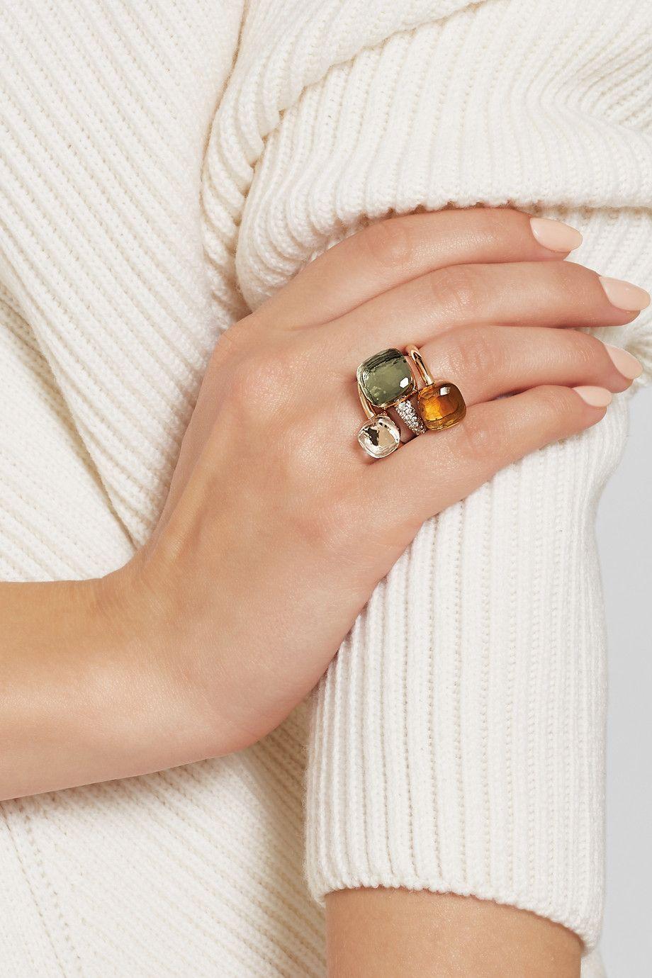 Pomellato | Nudo 18-karat rose and white gold, prasiolite and ...