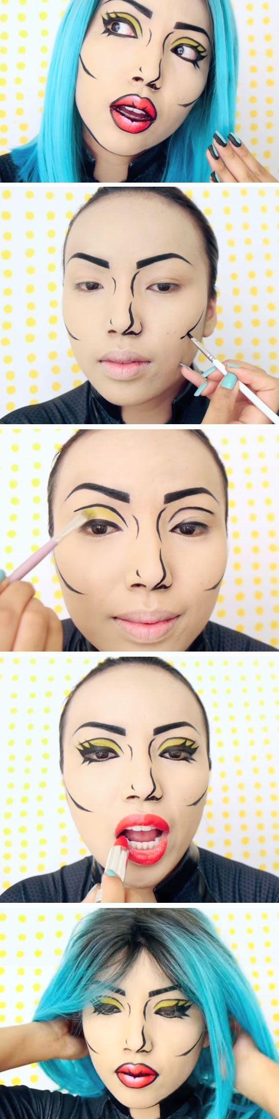 ÚLTIMO MINUTO Maquillaje de Halloween: Instrucciones de maquillaje Pop Art – Decoración de la casa Más