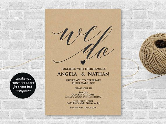 Invitation Template, We Do Wedding Invitation Template, Wedding Template, Microsoft  Word Format (docx), Instant Download, Editable,