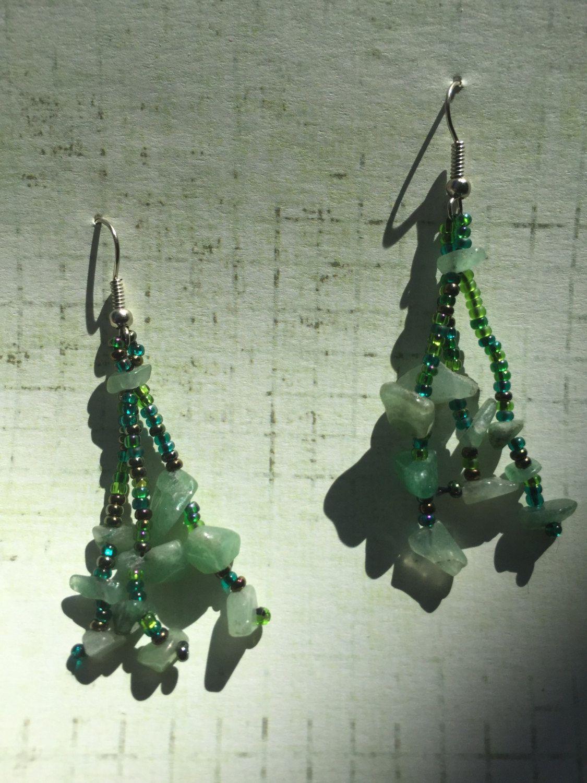 Jade Chip Green Seed Bead Earrings by BeadingSista on Etsy
