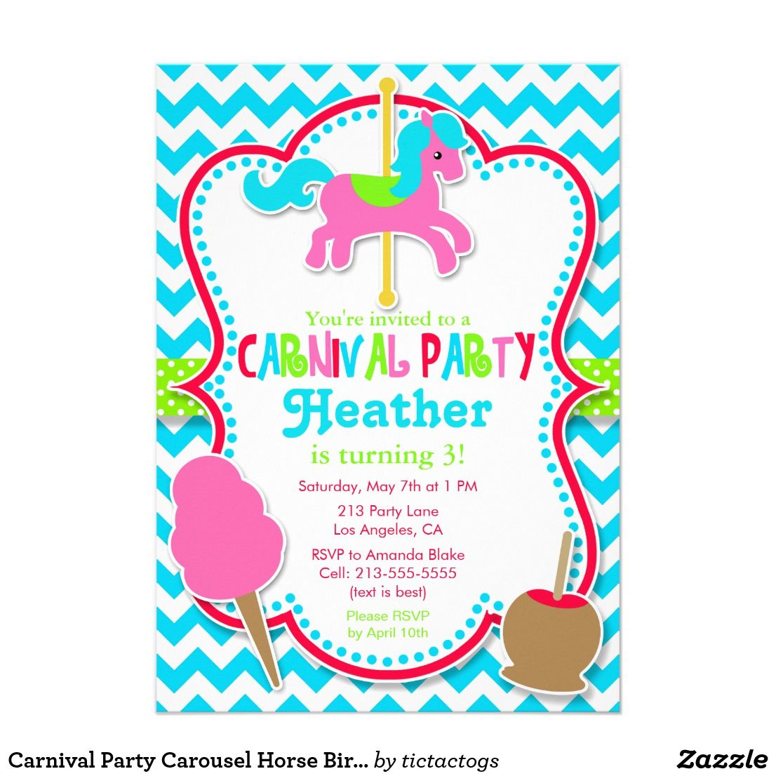 Carnival Party Carousel Horse Birthday Invitation | Pinterest ...