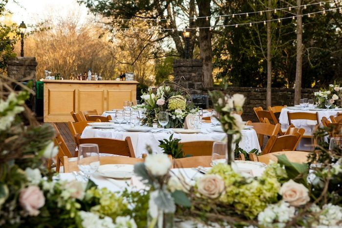 Fairy Tale Garden Wedding, outdoor reception, table decor, floral design. For more inspiration, visit www.fetenashville.com | Féte Nashville