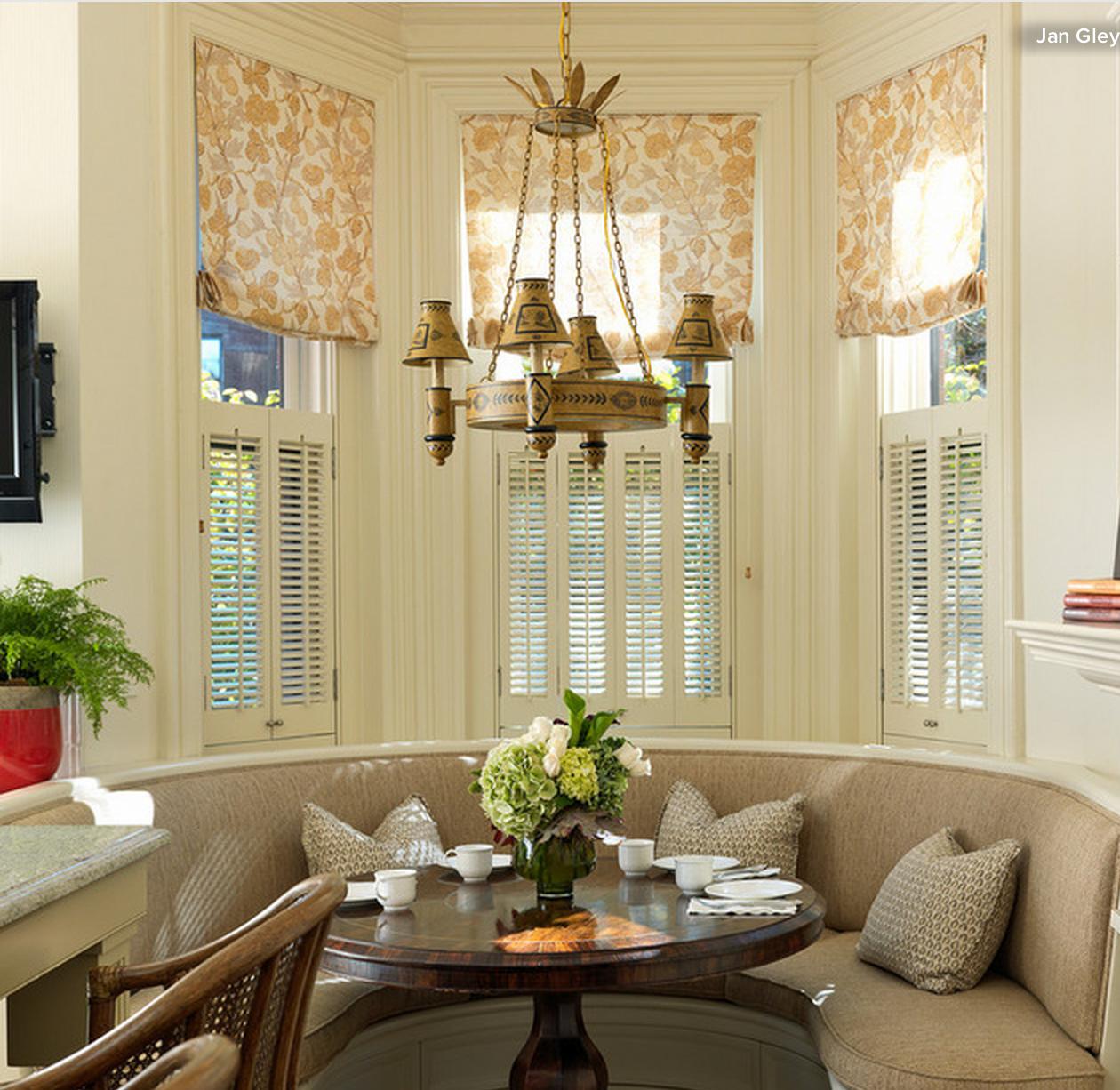 25 Modern Roman Shades For Beautiful Room Decorating: Window Treatment Idea: Roman Shades In A Bay Window