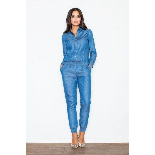 Riflový štýlový dámsky overal modrý - fashionday.eu