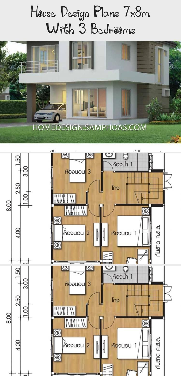 House Design Plans 7x8m With 3 Bedrooms Ruby S Blog In 2020 Home Design Plans Small House Exteriors 30x40 House Plans