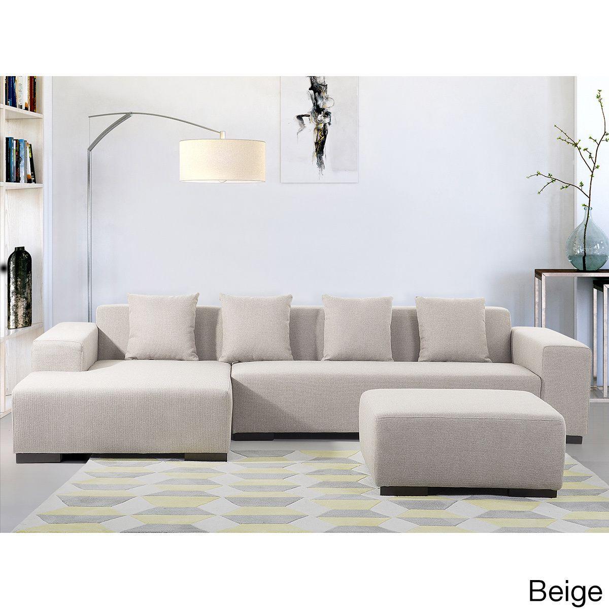 Beliani Lungo Modern Fabric Sectional Sofa (Lungo Beige R w/ottoman) (Polyester)