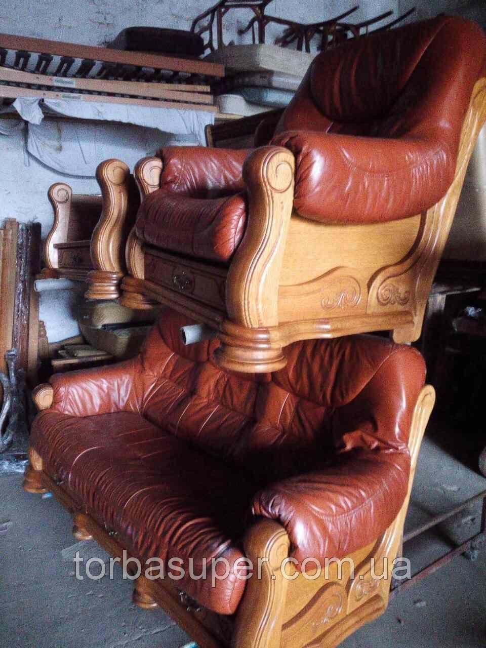 кожаный диван и кресла из европы комплект мягкой мебели бу