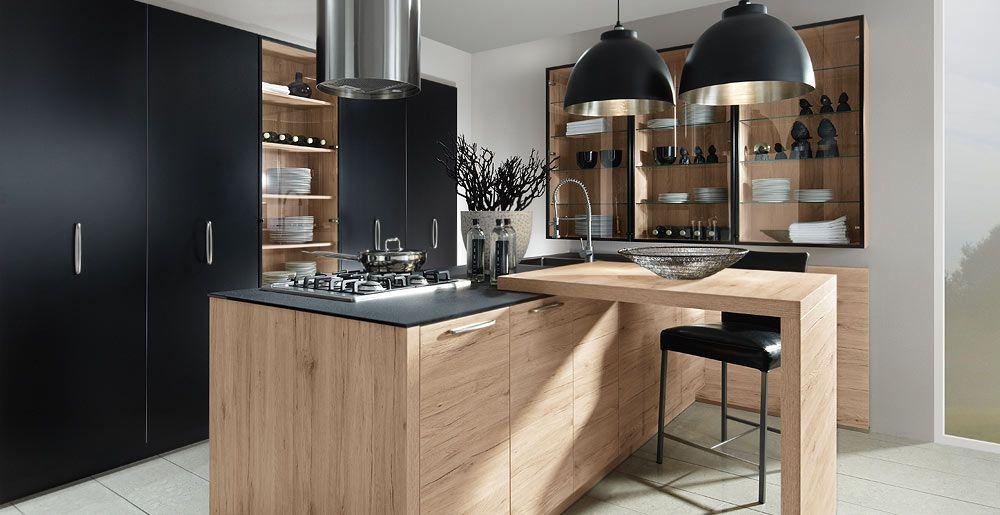moderne schroder kuchen, schröder küchen | trend & sincrono sanremo oak, color schwarz, Design ideen