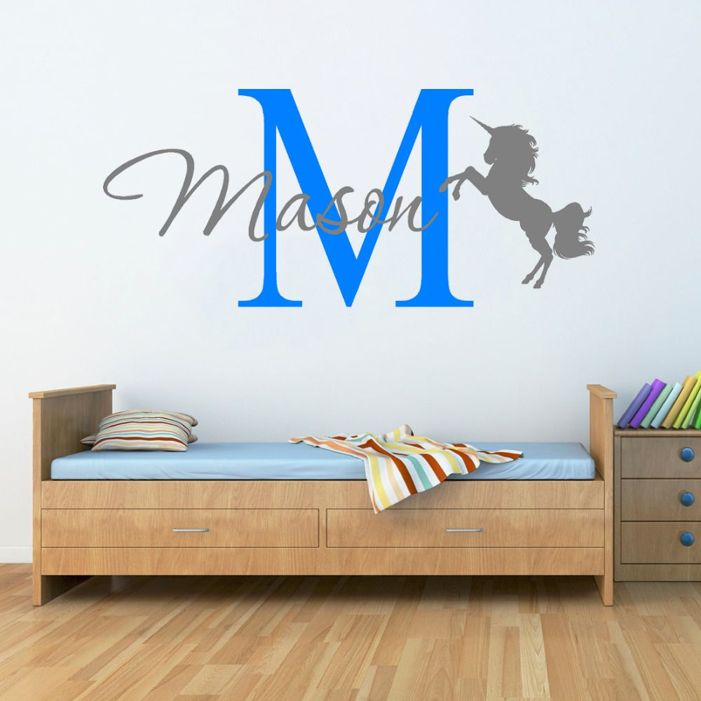 Unicorn horse with name wall stickers for kids room baby nursery