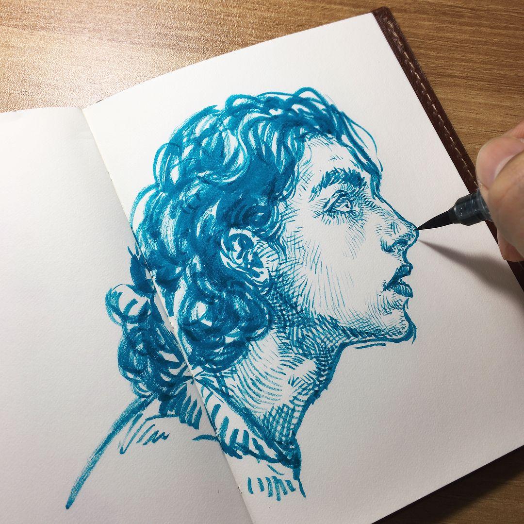 brushpen #pentelbrushpen #illustration #draw #inking | Pen art drawings,  Pen illustration, Brush pen art