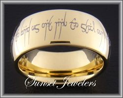 18kt Yellow Gold Plated Tungsten Elvish Wedding Ring With Free Inside Engraving Outside Reads One To Show Our Love Bind Us