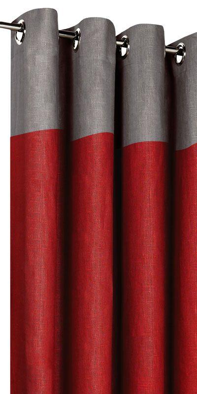 rideau gris et rouge rideau oeillets sana rouge et gris. Black Bedroom Furniture Sets. Home Design Ideas