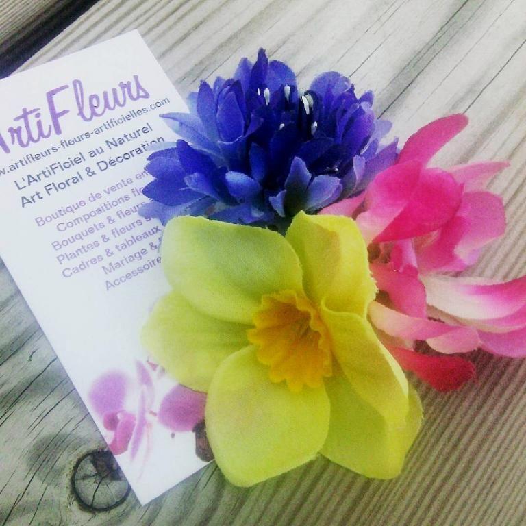 Pince clip cheveux Jonquille Bleuet fleurs artificielles