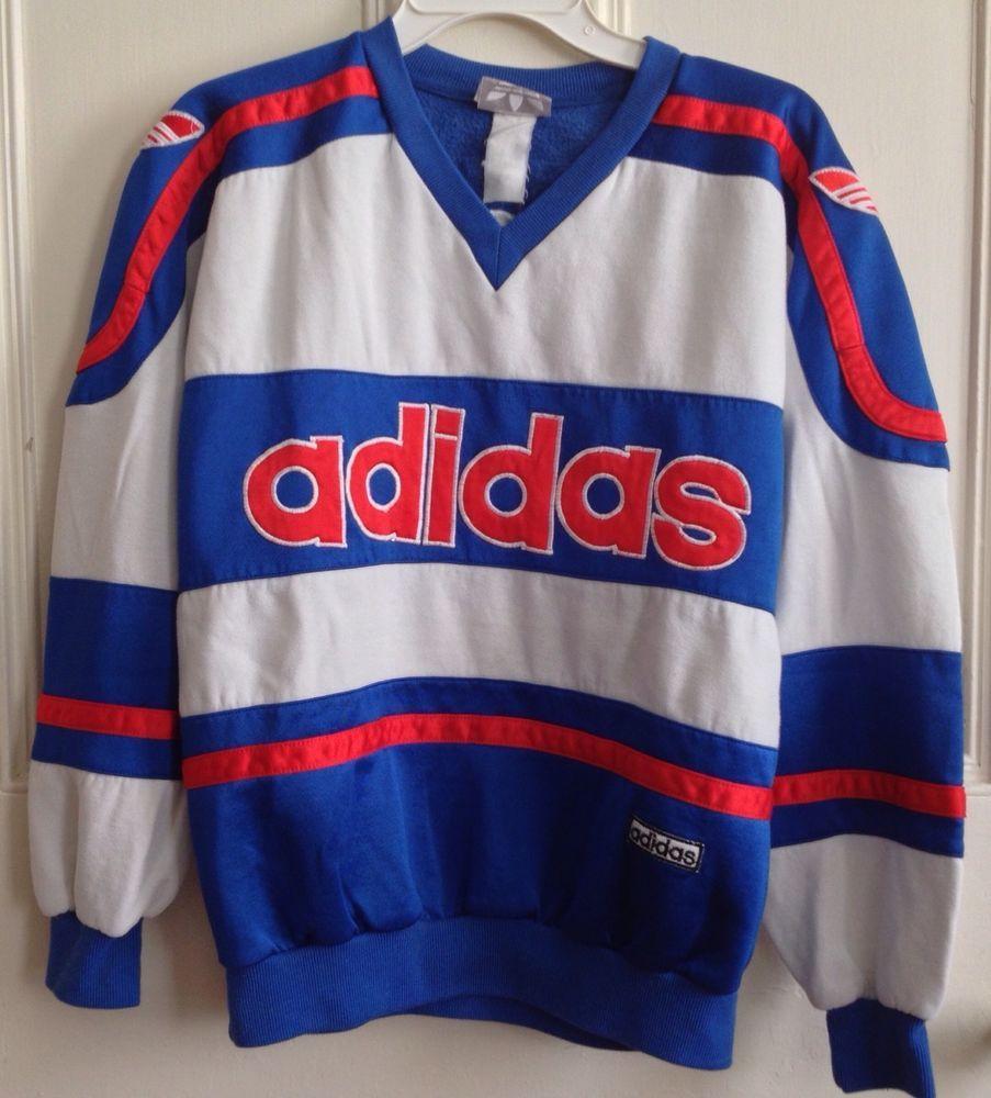 Vintage Adidas Sweatshirt V Neck Trefoil Long Sleeve 1980s