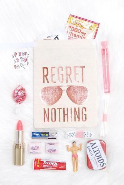 Rose Gold Aviator Regret Nothing! Hangover Kit Bags