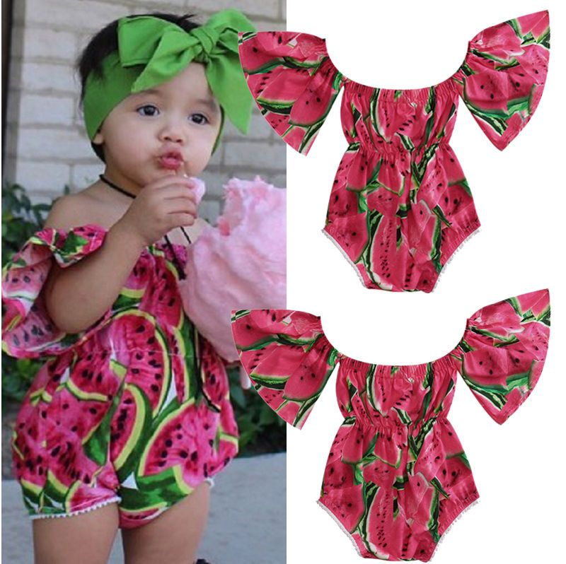 423240224f0 Newborn Baby Girls Watermelon Off Shoulder Romper Jumpsuit Playsuit Outfits  0-2T