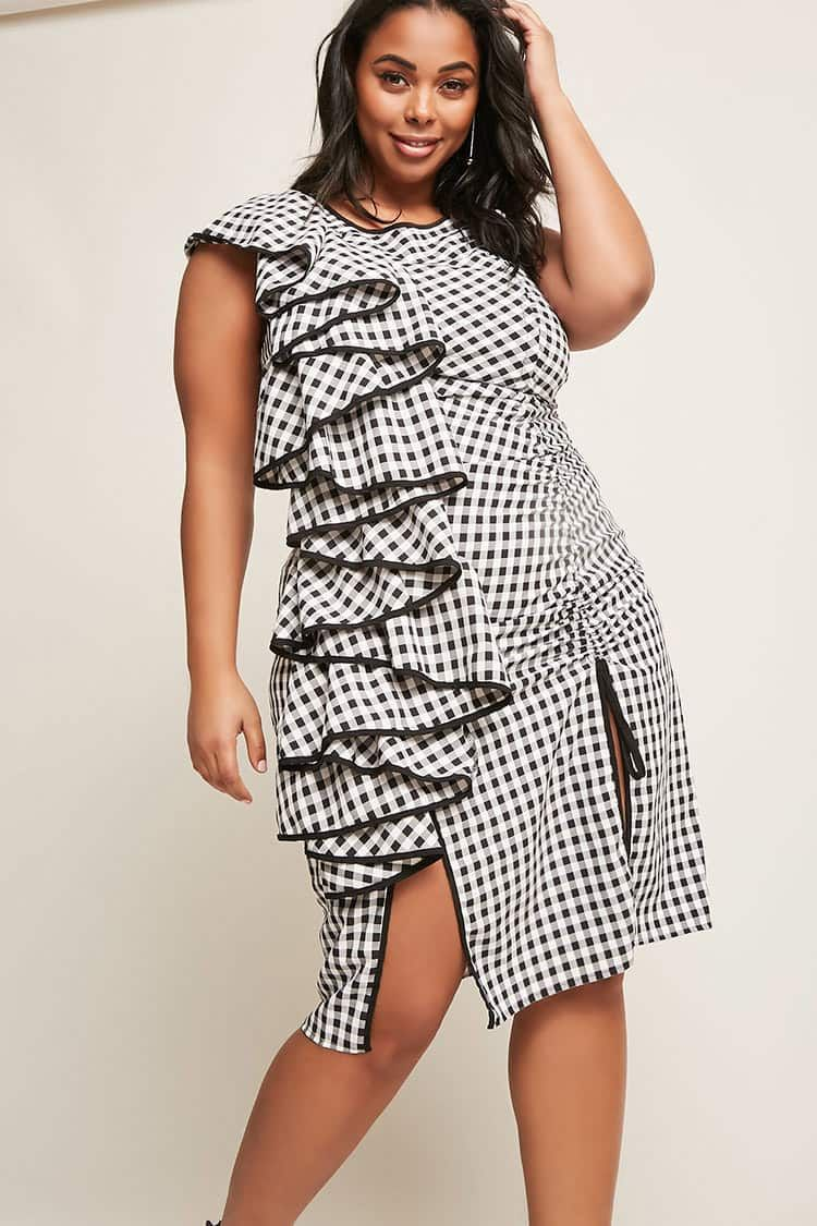 378317307be Product Name Plus Size Gingham Ruffle Dress