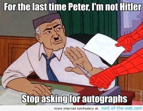 4a3c1076b3458848699c1bec8c592c0d spider man meme hitlers autograph funnies! pinterest spider