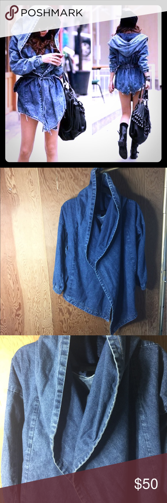 Denim Hooded Jacket Oversized Hood. All blue denim. Two front pockets. Back tie for adjustment. Thigh length. Worn once to the airport. Cute & lowkey. Jackets & Coats Jean Jackets