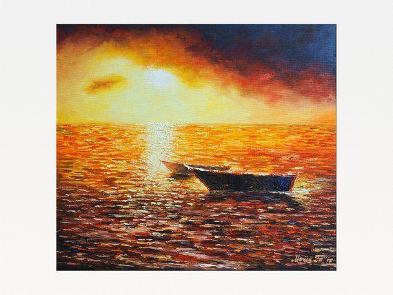 X Large Plum Purple Canvas Picture Sunset Sea Seascape